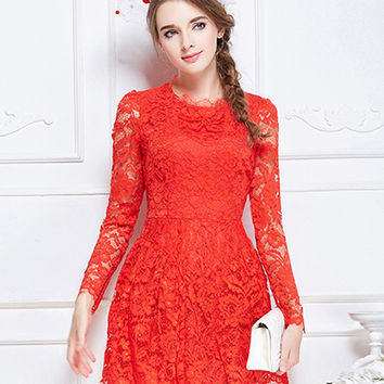 Red Sheer Lace Long Sleeve Skater Mini Dress
