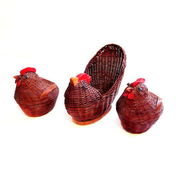 Brown Wicker Wood Chicken / Rooster Basket / Boxes