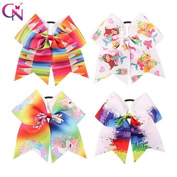 "8 Pieces/lot 7"" Unicorn Cheer Bows With Rubber Band For Girls Kids Printed Ribbon Ponytail Mermaid Hair Bows Hair Accessories"