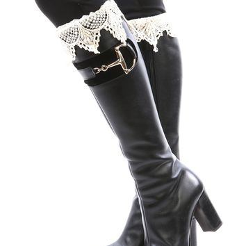 LEG WARMER LACE TOP BUTTON EMBELLISHED KNIT ANKLE