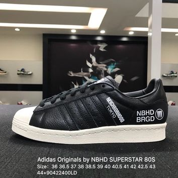 Adidas Originals by NBHD SUPERSTAR 80S F34157 Black White Women Men Skateboarding Shoes