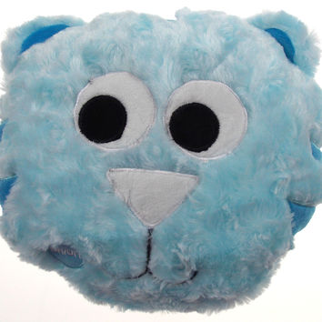 "Blue Cat Pillow Multi Color LED Light Up Flash Plush 10"" Microbeads Home Decor"