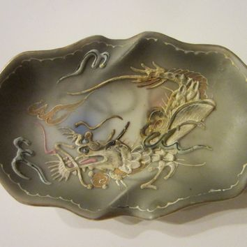 Asian Majolica Dragon Painted Miniature Tray Gilt Decorated Moriage