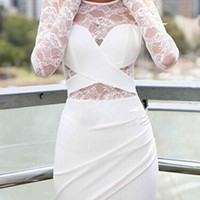 White Sheer Lace Long Sleeve Scoop Neck Ruched Asymmetric Bodycon Mini Dress
