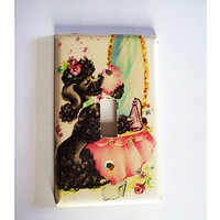 retro poodle switch plate vintage 1950's rockabilly pin up decor light switch kitsch