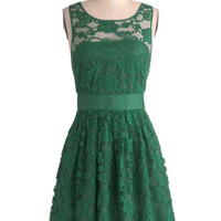 When the Night Comes Dress in Emerald