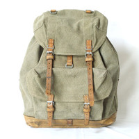SWISS ARMY BACKPACK from 1956, Military Leather and Canvas Bag, 'Salt & Pepper', Large Rugged Men's Rucksack, Fishing, Hiking, Switzerland