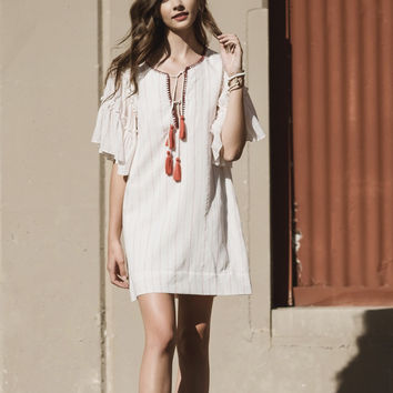 Boho Lace Up Dress