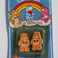 1983 Vintage Friend Bear Care Bear Pair of Barrettes by American Greetings