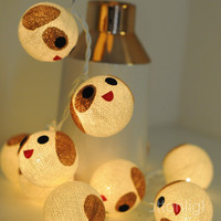 handmade cotton ball smile puppy string light bedroom decoration decor wedding cute cartoon little puppy