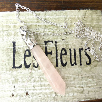 Rose Quartz stone faceted pendant, silver bail and silver plated chain necklace.