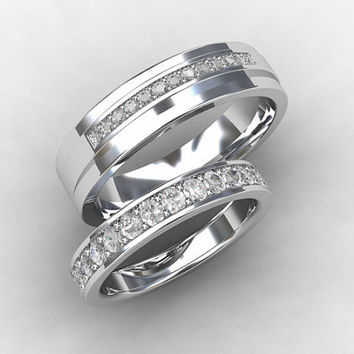 fancy eternity couple matching diamond black hers carat vintage sets wedding bands and gold band diamonds rings unique style his