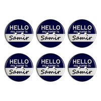 Samir Hello My Name Is Plastic Resin Button Set of 6