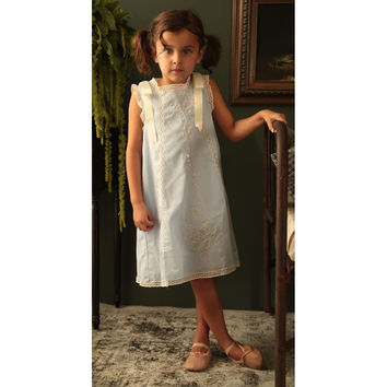 Blu Pony Vintage - Girls Special Occasion Dress, Vintage Blue