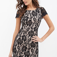 FOREVER 21 Lace Sheath Dress Black/Blush