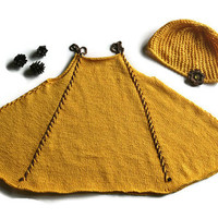 Baby girl dress and hat, yellow summer set, infant baby dress, summer dress hand knit