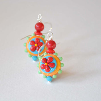 Flower Earrings, Lampwork Glass Earrings, Colorful Earrings, Glass Bead Earrings