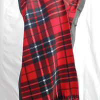 Red Plaid Scarf, Tartan Plaid, Plaid Fleece Scarf, Winter Scarf, Womens Scarf, Mens Scarf, Oversized Scarf, Extra Long and Wide, Christmas