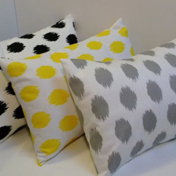 Ikat dot lumbar 12x20 pillow cover, grey, yellow, navy accent pillow, home decor accent
