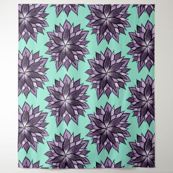 Purple Mandala Like Flower Drawing Pattern Tapestry