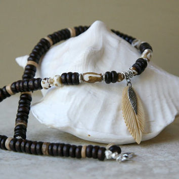 Men's Wood Bead Necklace with Bone Feather Pendant