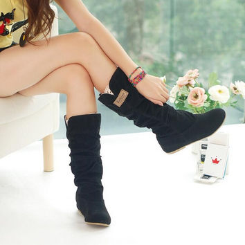 Spring Autumn casual shoes princess sweet women boot stylish flat flock shoes fashion Mid-calf boots