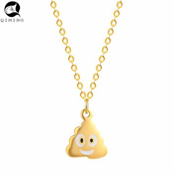 QIMING Creative Jewelry Poo Poop Shit Emoji Women Funny Necklace Chokers Pendant Steampunk S Jewelry Best Friends Necklace