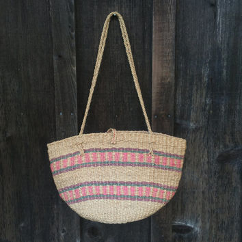 70s Woven Market Bag | African Sisal Tote | Woven Beach Tote | Neutral Woven Beach Tote