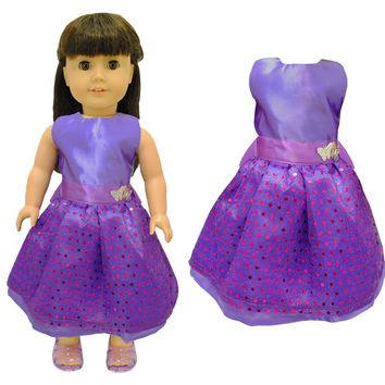 Doll Clothes Fits American Girl & Other 18 Inch Dolls Beautiful Purple Dress