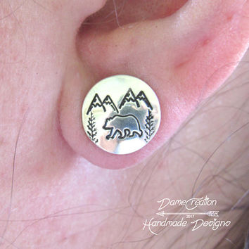 Bear Stud Earrings, Bear Earrings, Sterling Silver, Silver Stud Earrings, Bear Gift, Bear Jewelry, Mountain Jewelry, Nature Jewelry