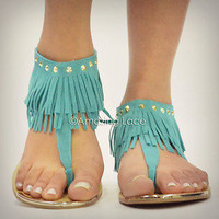 Mint Teal Fringe Ankle Sandals Flat Gold Studded Suede Indian Summer Fashion