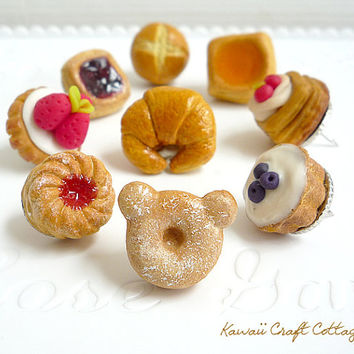 Assorted, Miniature, Kawaii, Cute, Gift, DIY Craft, Memo, Fake Food, Donut, Pastry, Tart, Pie, Cake, Bun, Kitchen, Home, School, 1:6, Kawaii