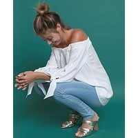 Have In Common Off-Shoulder Tunic Top - White