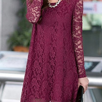 Wine Red Lace Long Sleeve Mini Dress