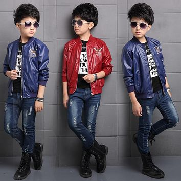 Spring New Casual Faux Leather Jackets for Boys Quality Autumn Leather Coat Children Outwear