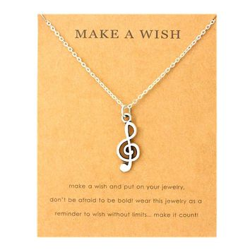 Music Note Treble Clef Cancer Ribbon Butterfly Pendants Necklaces Angel Wings Women Men Unisex Fashion Jewelry Friendship Gift