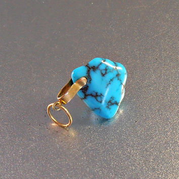14K Gold Turquoise Pendant Charm, Brilliant Blue Nugget, Yellow Gold