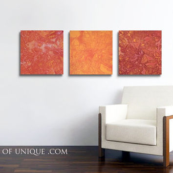 Red and Orange Wall Art / Original 3 panel ( 15 Inch x 15 Inch) / ORIGINAL Abstract Painting / Red, Orange, yellow, warm colors