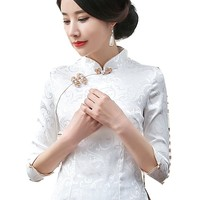 Shanghai Story New Sale traditional Qipao top half Sleeve cheongsam top traditional Chinese Linen Top Linen blouse top