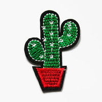 Embroidered Cactus Patch - Small Cactus Iron on - Best Friend Gift - Cactus Plant Jacket Accessories - Stocking Filler - Green Cactus