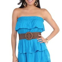 solid color casual dress with ruffle tiered skirt and bust - 1000041482 - debshops.com