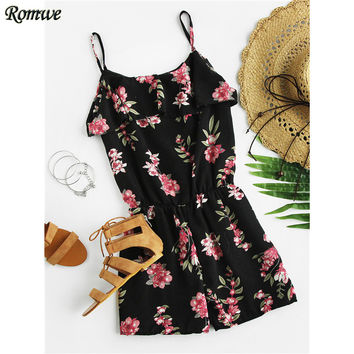 ROMWE Summer 2017 New Sexy Women Ladies Floral Playsuit Black Sleeveless Open Shoulder Layered Floral Print Chiffon Romper
