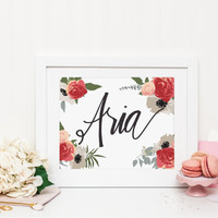 Aria Hand-Lettered Instant Download - Girls' Nursery Art Digital File 8x10 - Download & Print - Hand-Lettered Original Name Art