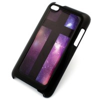 BLACK Snap On Case for APPLE IPOD TOUCH 4 / 4G / 4th Gen Generation Plastic Cover - CROSS GALAXY sky rainbow stars milkyway nebula crucifix aurora borealis