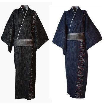 Men Yukata Kimono Pajamas Robe Cotton Bathrobe Embroidery Japanese Style New