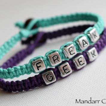 Teal and Royal Purple, Freak and Geek Bracelet, Set of Two, Best Friends, Couples Jewelry, Quirky Gift for Her