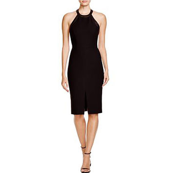 Alice + Olivia Womens Jase Leather Trim Open Back Cocktail Dress