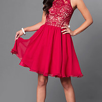 Lace-Bodice A-Line Knee-Length Party Dress