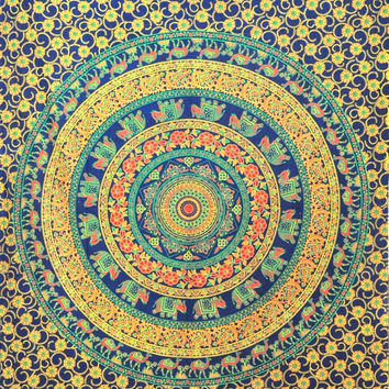 Elephant Mandala Tapestry, Hippie Tapestries, Wall Tapestries, Tapestry Wall Hanging, Indian Tapestry, Bedspread Bohemian Bedding bed cover
