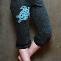 be still my Sea Turtle Pants, Cropped Pants, Yoga Capris, S,M,L,XL